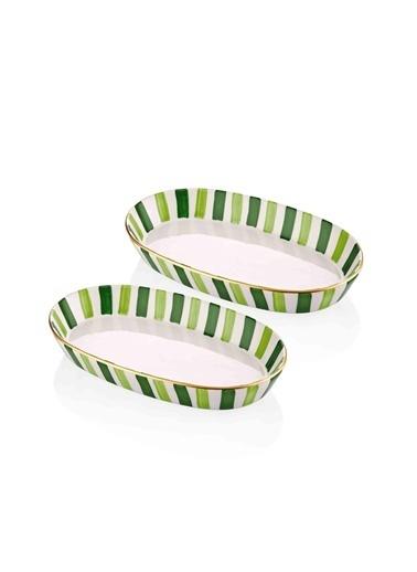 The Mia Fez Oval Servis - 2li Set -15 x 25 x 4 Cm Yeşil Yeşil